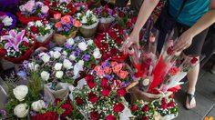 ปากคลองตลาดคึกคัก! ประชาชนแห่ชื้อดอกกุหลาบรับ 'วาเลนไทน์'