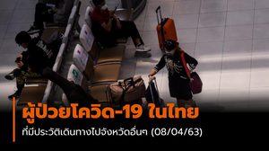 ผู้ป่วยโควิด-19 ในไทย ที่มีประวัติเดินทางไปจังหวัดอื่นๆ