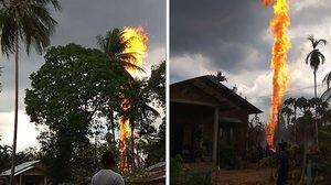 เปลวไฟสูงเสียดฟ้า ! ไฟไหม้บ่อน้ำมันเถื่อนในอินโดฯ ดับแล้ว 10 ศพ
