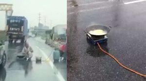 ชายชาวจีน ขนเตาแก๊สต้มบะหมี่กลางถนน ทำรถติดยาวหลายกิโล