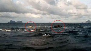 คลิปนาทีช่วยลูกเรือประมง หลังคลื่นแรงซัดเรือแตก