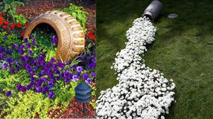 14 ไอเดียแต่งสวน สนุกๆ เทกระจาดดอกไม้ออกจากกระถาง