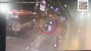 เปิดคลิปบิ๊กไบค์ซิ่งโชว์บนสะพานพุทธ หักหลบรถประจำทาง ก่อนชนประสานงา