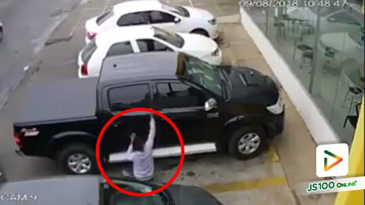 เตือน!! ระยะเวลาสั้นๆก็ยังสามารถงัดกระจกรถเพื่อฉกทรัพย์สินในรถ (08-10-61)