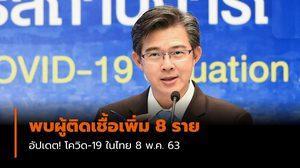 ติดเชื้อเพิ่ม 8 ราย – อัปเดต! โควิด-19 ในไทย 8 พ.ค. 63