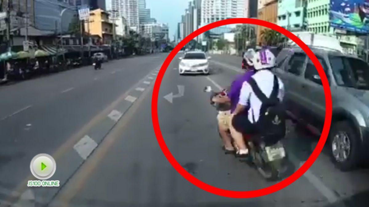 อันตรายสุดๆ รถจักรนยานยนต์วิ่งย้อนศรข้ามเลน ผ่านรถเก๋ง