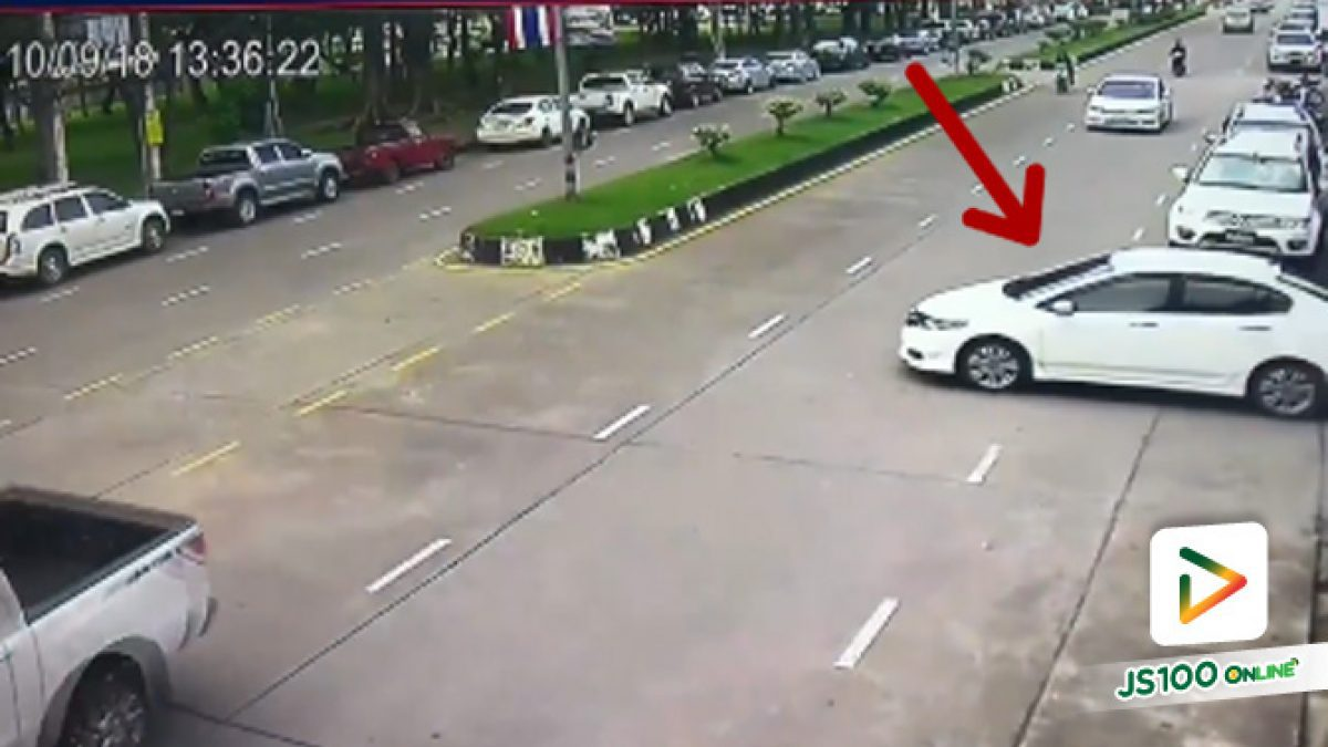 คลิปรถเก๋งกลับรถผิดที่ จยย.ขับเร็วมาแต่ไกลชนท้าย ซอยท่าแฉลบ 6 เมืองจันทบุรี (10-10-61)