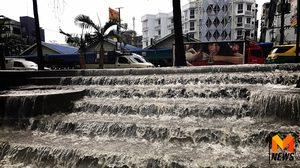ฝนถล่ม! หาดไมอามี่พัทยา น้ำท่วมขังล้นจนเกิดภาพน้ำตก 7 ชั้น