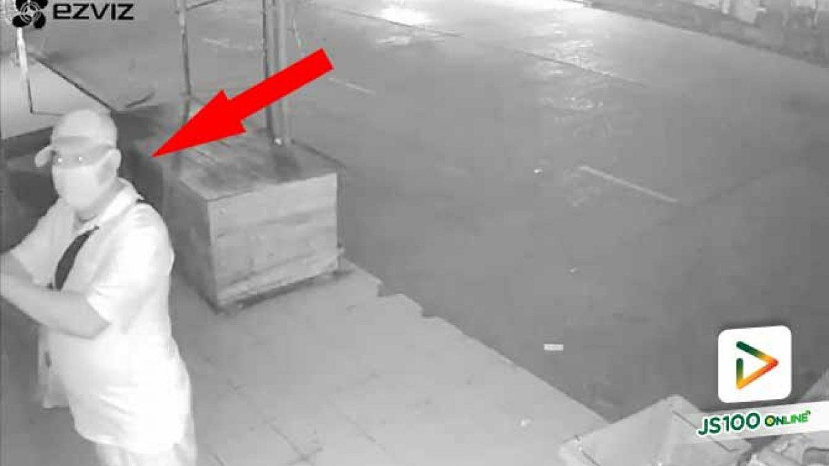 คนร้ายงัดประตูบานเลื่อนร้านค้าหวังลักทรัพย์ หันเจอกล้องวงจรปิดรีบเผ่นหนี