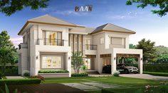 แบบบ้านสองชั้น บ้านแนวทรอปิคอล พื้นที่ใช้สอย 276 ตารางเมตร