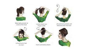 10 ตัวอย่างการมัดผมแบบต่างๆ แบบภาพการ์ตูน