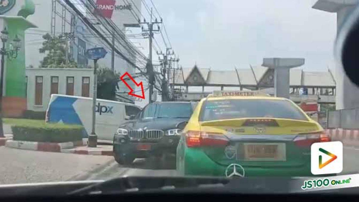 แล้วไงใครแคร์..!! รถหรูป้ายแดงขับย้อนศรมาบนถนน ก่อนเลี้ยวเข้าซอยไป (03/10/2019)