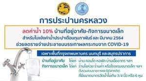 กปน. ลดค่าน้ำ 10 % บ้านที่อยู่อาศัยและกิจการขนาดเล็ก สำหรับใบแจ้งค่าน้ำประปาเดือนกุมภาพันธ์ และ มีนาคม 2564
