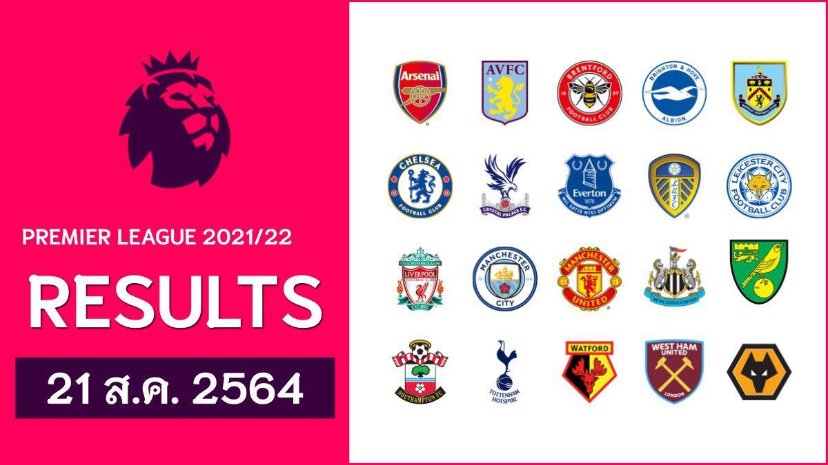 วันเสาร์ 21 ส.ค. ผลบอลพรีเมียร์ลีก อังกฤษ 2021-2022
