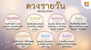 ดูดวงรายวัน ประจำวันพฤหัสบดีที่ 28 มิถุนายน 2561 โดย อ.คฑา ชินบัญชร