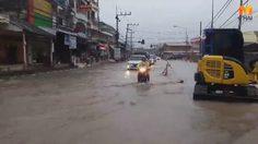 ฝนถล่มเมืองคอน อ.พรหมคีรี น้ำเพิ่มสูงขึ้น แจ้งเตือนประชาชนรับมือน้ำท่วม