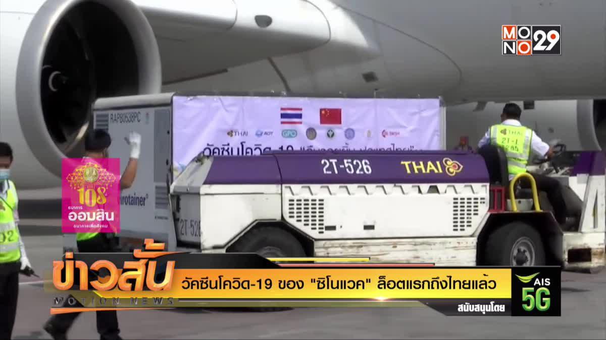 """วัคซีนโควิด-19 ของ """"ซิโนแวค"""" ล็อตแรกถึงไทยแล้ว"""