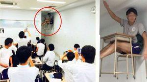 สุดแปลก! นักเรียนนั่งโต๊ะลอยฟ้าในห้องเรียน เพื่อนรุมถ่ายรูปเพียบ