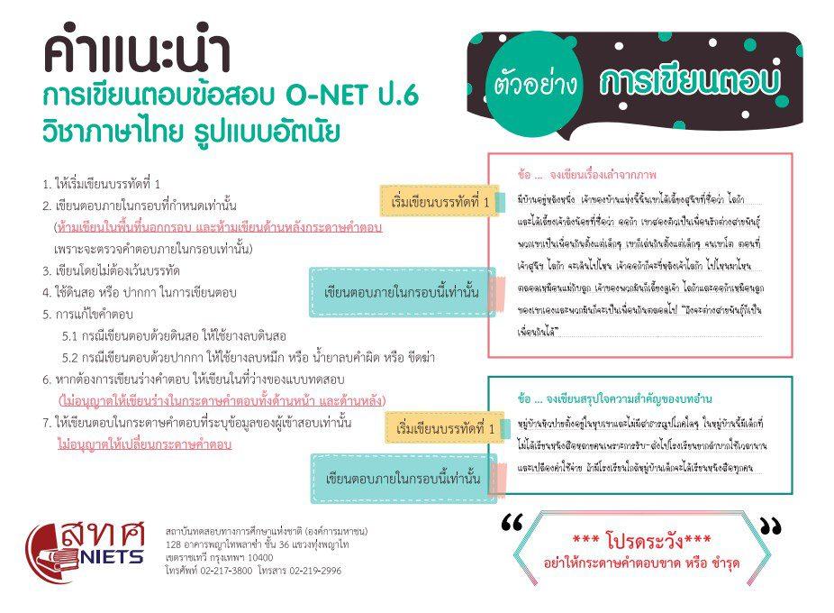 ภาษาไทย O-NET คืออะไร