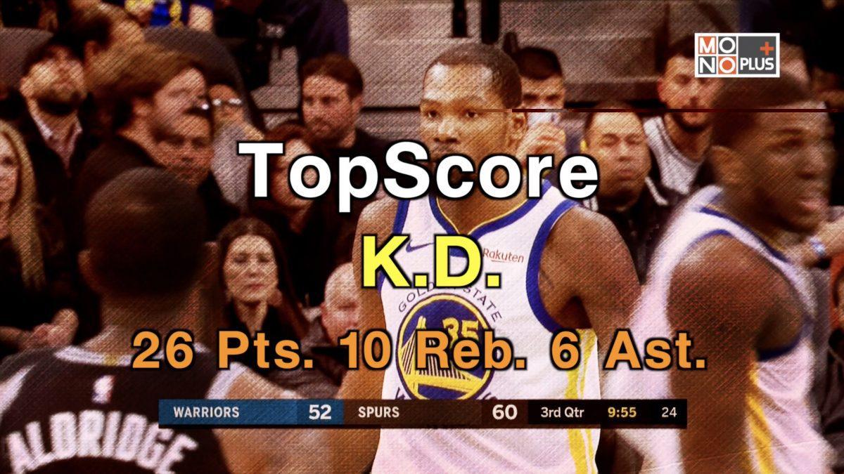 Top Score, K.D. 26 Pts. 10 Reb. 6 Ast