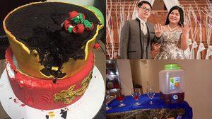 งานแต่งพังไม่เป็นท่า!! เจ้าสาวถึงกับร้องไห้ หลังเค้กที่ ออร์แกไนซ์ จัดไว้ให้ทำมาจากโฟมทั้งดุ้น