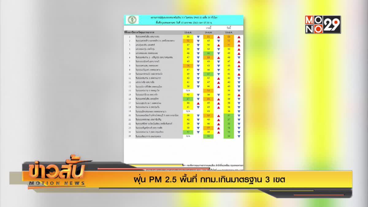 ฝุ่น PM 2.5 พื้นที่ กทม.เกินมาตรฐาน 3 เขต
