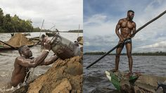 อย่างโหด คนงานเหมืองแคเมอรูน ดำน้ำลึก 20 ฟุตวันละ 100 ครั้งเพื่อตักทรายขึ้นมาขาย