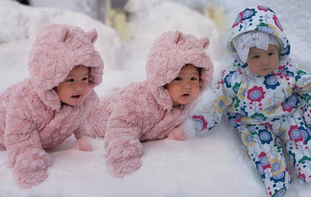 So cute! น้องริชา ใส่ชุดหมีน้อย ตะลุยหิมะ