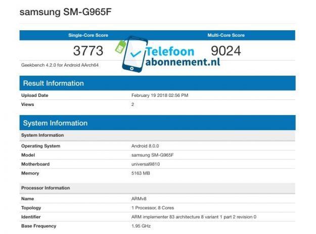 Samsung S9+ ระเบิดพลังสุดแรง เป็น Android ที่แรงที่สุดบน Geekbench