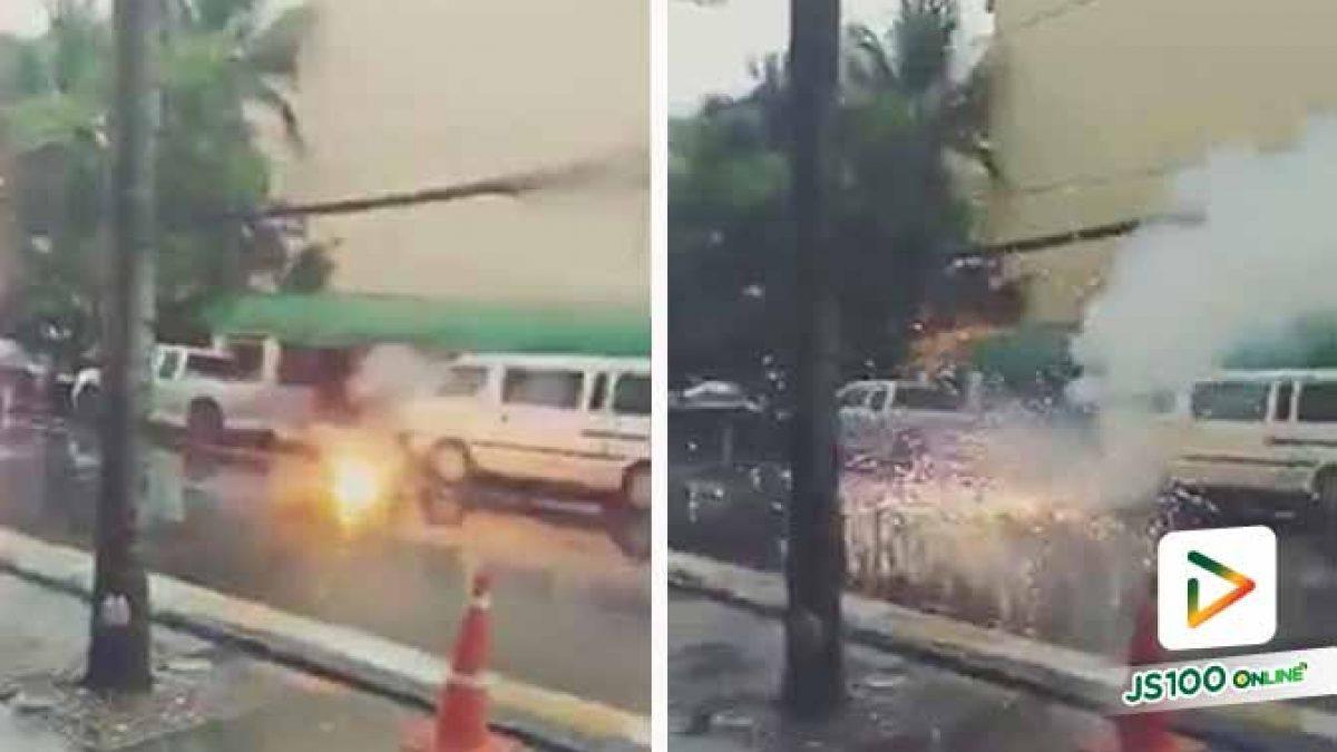นาทีระทึก!! สายไฟฟ้าแรงสูงระเบิดที่หน้าโรงแรมสวิสโซเทล ป่าตองฯ จ.ภูเก็ต (16/09/2019)