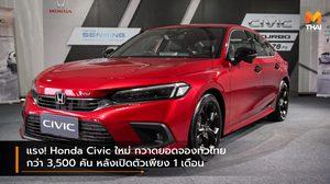 แรง! Honda Civic ใหม่ กวาดยอดจองทั่วไทยกว่า 3,500 คัน หลังเปิดตัวเพียง 1 เดือน