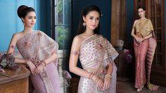 แพทริเซีย กู๊ด สวยหวาน ในชุดแต่งงานแบบไทย ด้วยผ้าไหมลำพูนสีกลีบบัวอ่อน