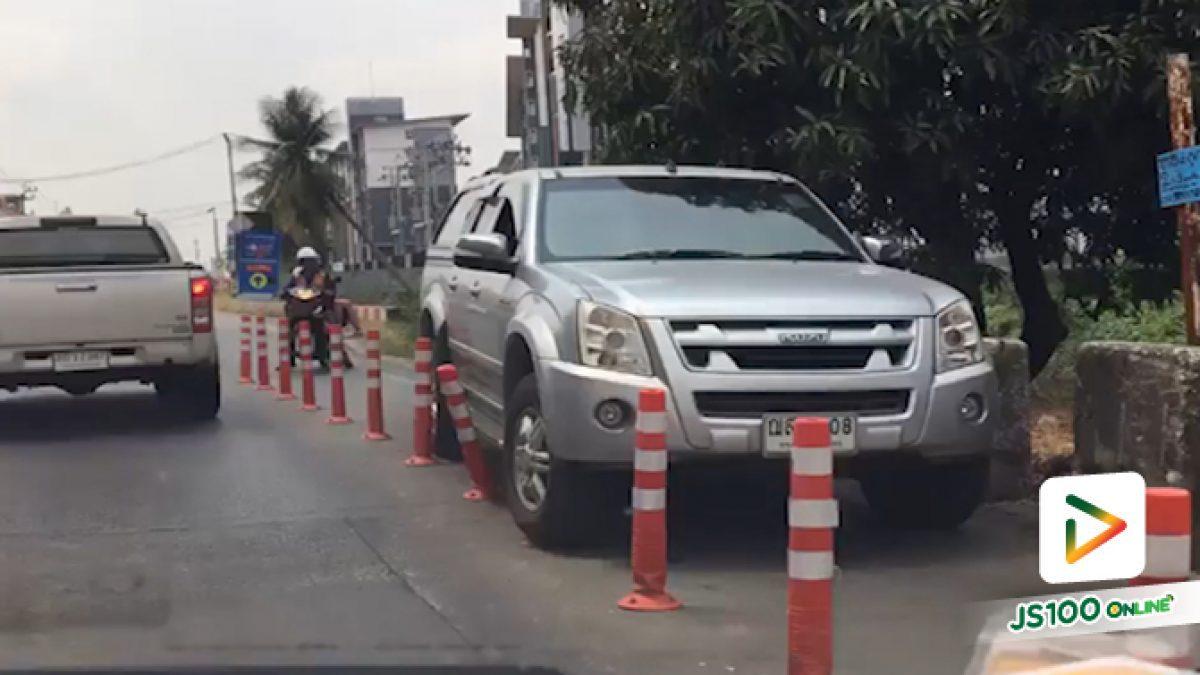 คลิปปิคอัพเบียดจนเสาพังเสียหาย บริเวณลอดใต้สะพาน คลองถนน จ.นนทบุรี (09-03-62)