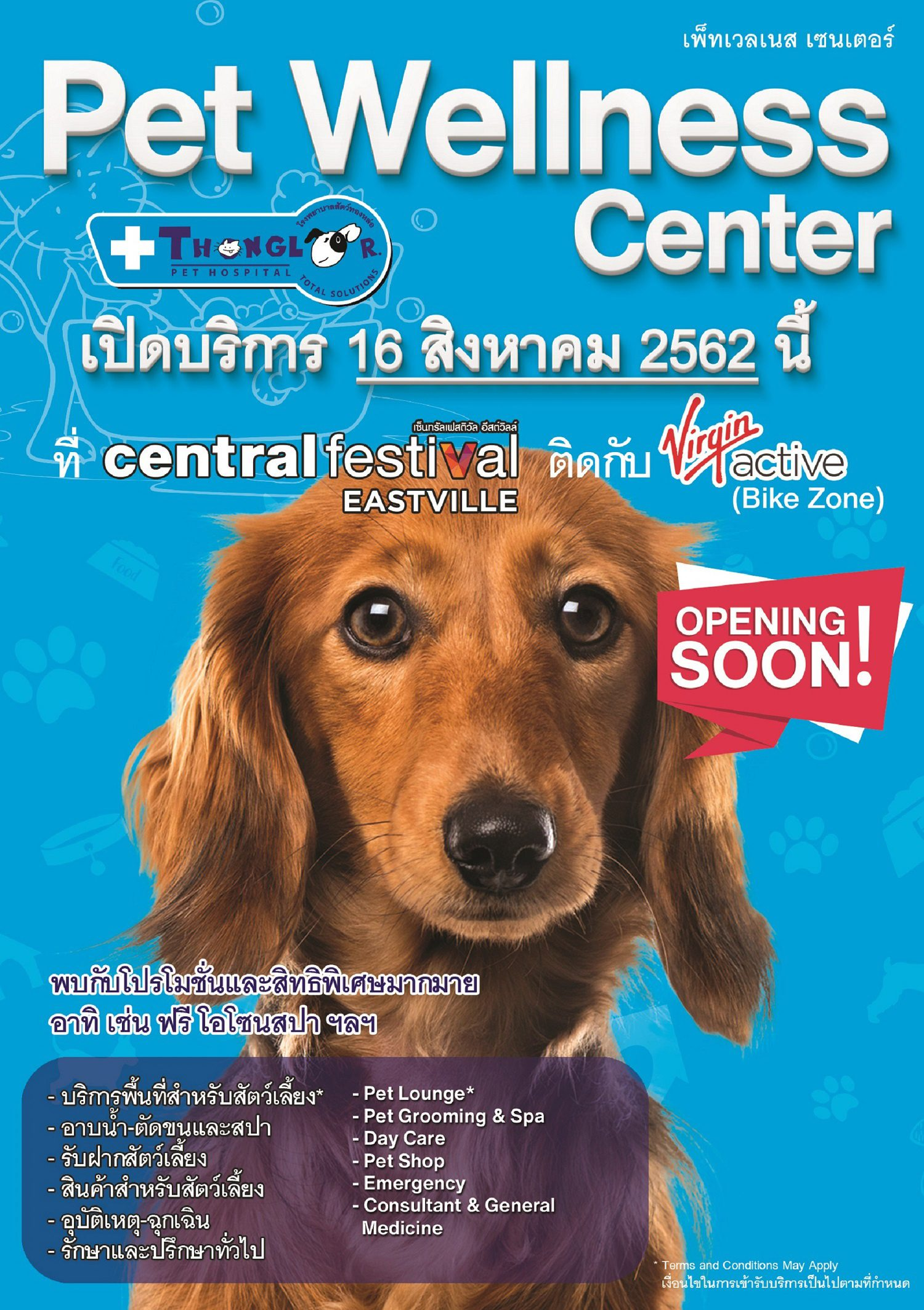 Pet Wellness Center รพส.ทองหล่อ  พร้อมเปิดบริการแล้วที่ Central EastVille
