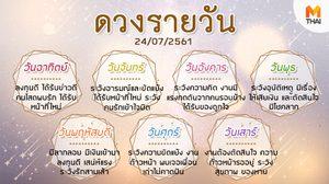 ดูดวงรายวัน ประจำวันอังคารที่ 24 กรกฎาคม 2561 โดย อ.คฑา ชินบัญชร