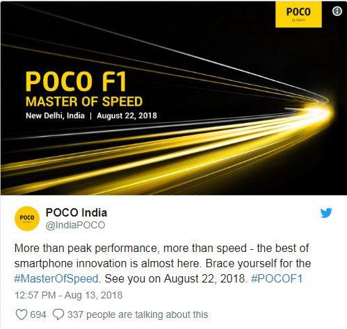 Pocophone F1 สมาร์ทโฟนชิป Snapdragon 845 ที่เร็วที่สุด เผยวันเปิดตัวแล้ว