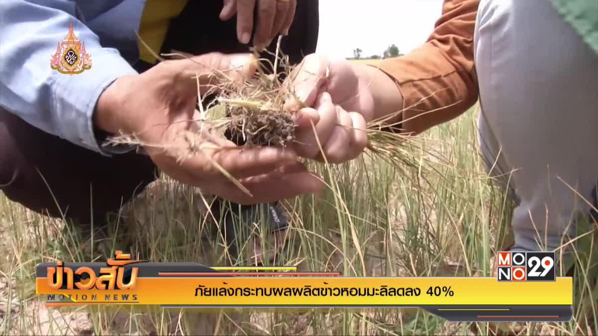 ภัยแล้งกระทบผลผลิตข้าวหอมมะลิลดลง 40 %
