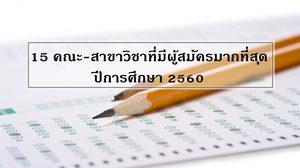15 คณะ-สาขาวิชาที่มีผู้สมัครมากที่สุด ในระบบแอดมิชชั่น ปีการศึกษา 2560
