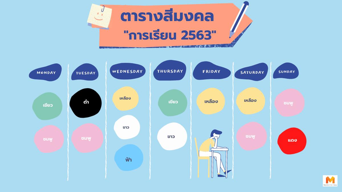 สีมงคล 2563 ด้านการเรียน ช่วยเสริมดวงเรื่องเรียน เรื่องสอบ
