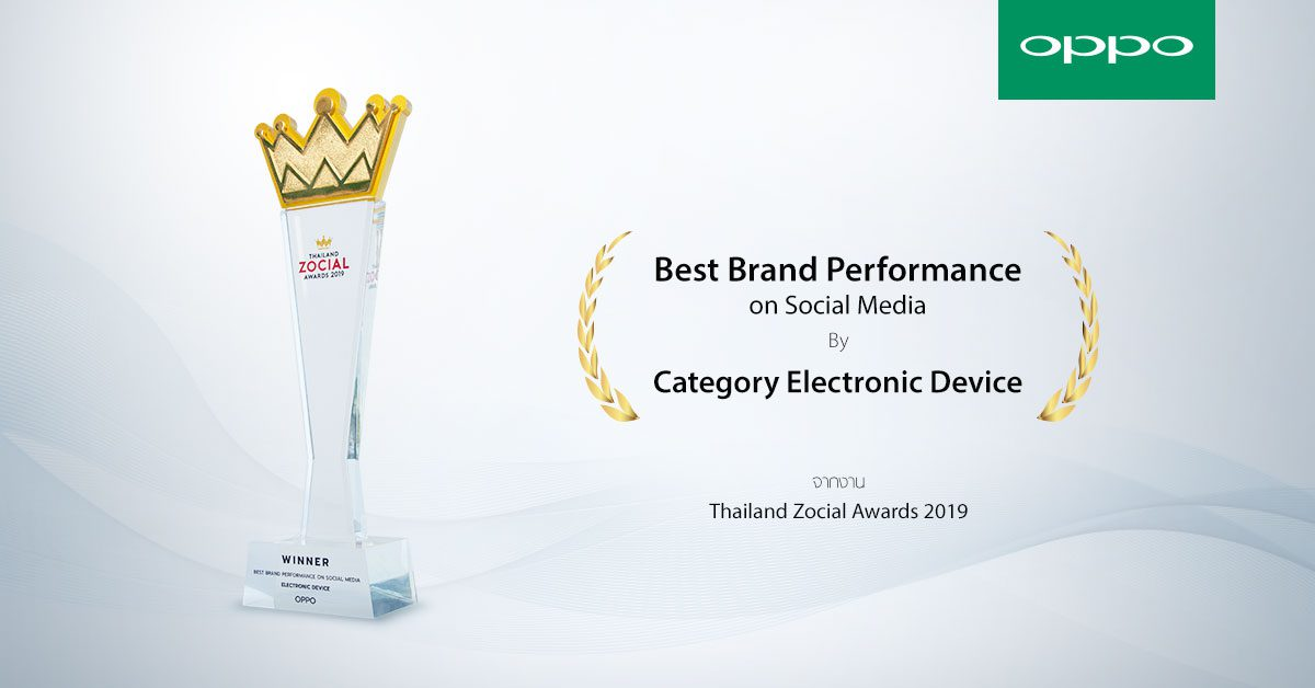 OPPO คว้ารางวัล Best Brand Performance on Social Media 2019!