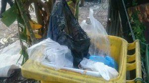 พบตัวแล้ว! แม่ใจยักษ์ยัดลูกใส่ถุงดำ ทิ้งถังขยะ