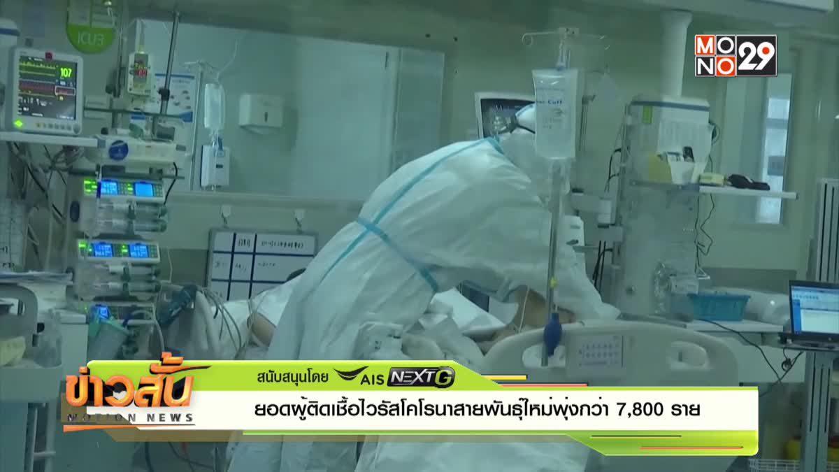 ยอดผู้ติดเชื้อไวรัสโคโรนาสายพันธุ์ใหม่พุ่งกว่า 7,800 ราย