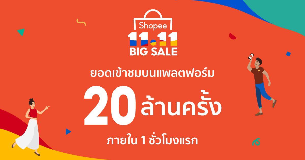 'ช้อปปี้' เริ่มแล้ว! ประกาศความสำเร็จแคมเปญ 'Shopee 11.11 Big Sale' ทั่วทั้งภูมิภาค เผยสถิติยอดเข้าชมสูงถึง  20 ล้านครั้งภายในชั่วโมงแรกของวันที่ 11 พฤศจิกายน