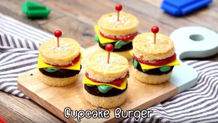 วิธีทำ คัพเค้กเบอร์เกอร์ เมนูน่ารักสดใส ทำเองง่ายๆ