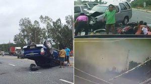 เปิดคลิปอีกมุม อุบัติเหตุรถชนสยองที่ระยอง ทำคนเจ็บไป 6 ราย