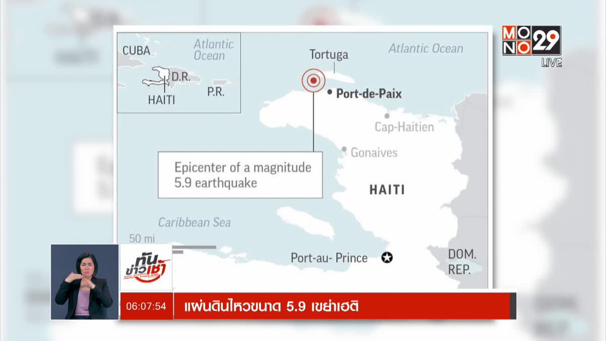 แผ่นดินไหวขนาด 5.9 เขย่าเฮติ