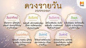 ดูดวงรายวัน ประจำวันพฤหัสบดีที่ 20 กันยายน 2561 โดย อ.คฑา ชินบัญชร