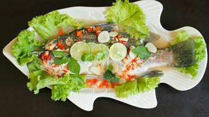 สูตร ปลากะพงนึ่งมะนาว แซ่บสุดในภัตตาคาร