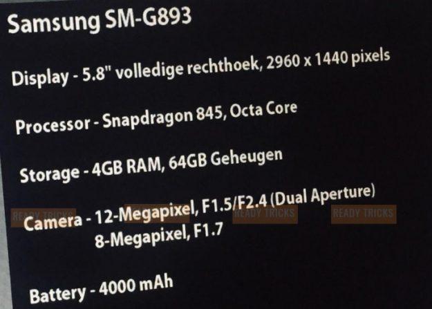 หลุดข้อมูลสมาร์ทโฟนสำหรับขาลุย Samsung S9 Active แบตเยอะ สเปคดุ