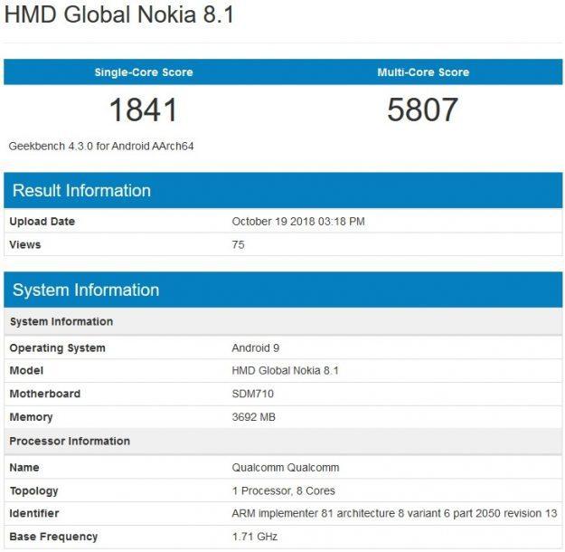 เผยสเปค Nokia 8.1 รุ่นใหม่อีกรุ่น ใช้ Snap 710, RAM 4GB รัน Android Pie